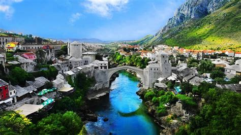 full hd wallpaper mostar historic center neretva bosnia