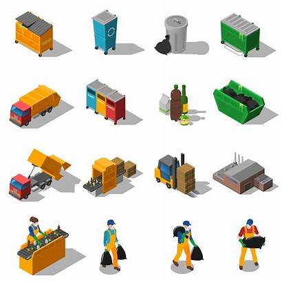 Garbage Isometric Vector Recycling Icons Illustration Disposal