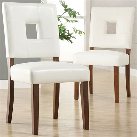 oxford creek dining chairs in white faux leather set of 2
