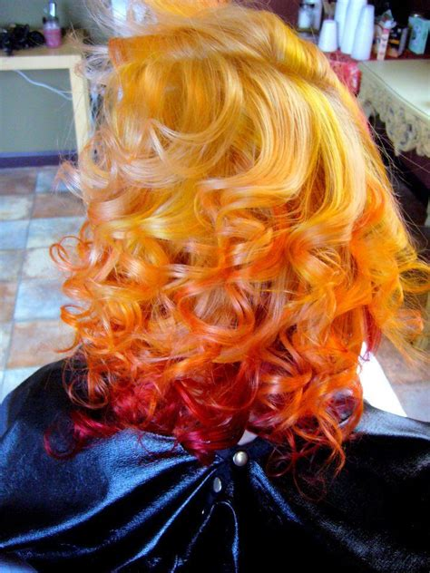 Yellow Burgundy Red Ombre Dip Dyed Hair Colorful Hair