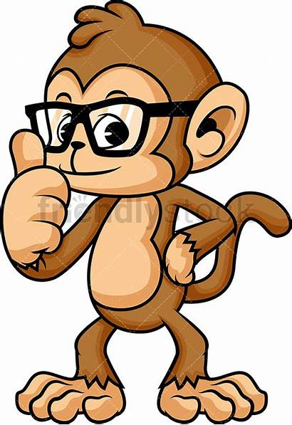 Monkey Glasses Cartoon Clipart Character Vector Holding