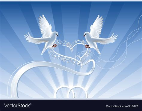 Wedding Composition With White Doves Royalty Free Vector