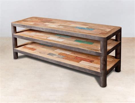 meuble tv 120cm 3 plateaux en bois recycl 233 s industryal