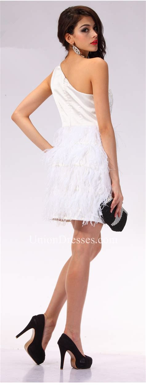 Elegant One Shoulder Short White Lace Feather Party Prom Dress