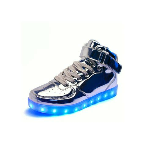 high top light up shoes unisex high tops light up shoes metallic silver