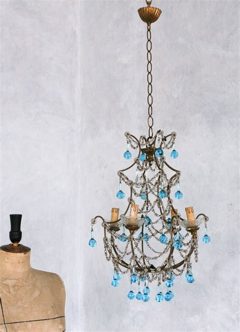 Images Of Chandeliers by Vintage 1930 S Shabby Blue Macaroni Beaded Crysta
