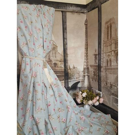 105 inch blackout curtains vintage chintz 100 cotton duck egg 105 quot d 102 quot w