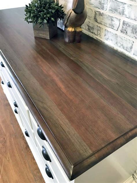 solid pine dresser walnut water based stained dresser top general finishes