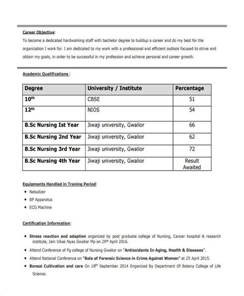 resume format for bsc nurses 16 best fresher resume templates pdf doc free