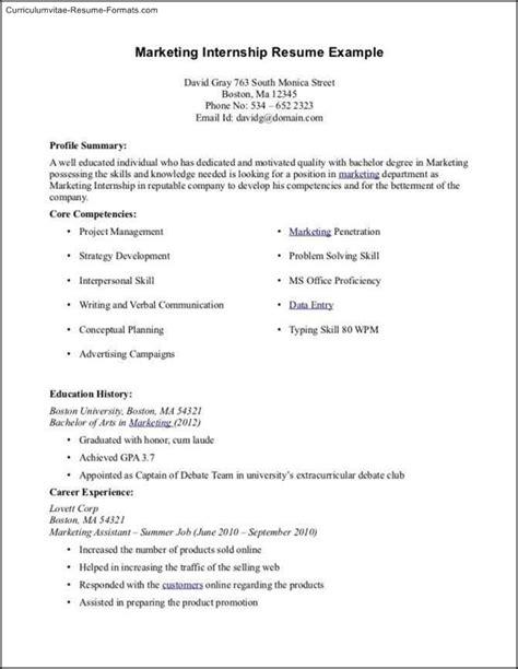 Internship Cv Template by Internship Resume Template Microsoft Word Free Sles