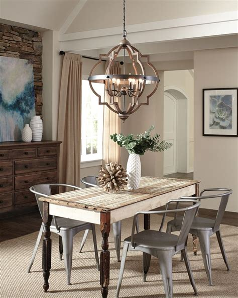 wood  metal element   dining space complete