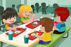 Cartoon kids eating at lunch table | 2D Graphics ...