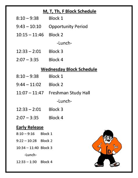 daily block schedule days