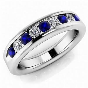 Alternating Sapphire Diamond Men39s Channel Set Ring