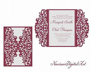 gate fold wedding invitation laser cut pattern card With wedding invitations template cdr