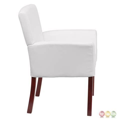 white leather executive side chair or reception chair with