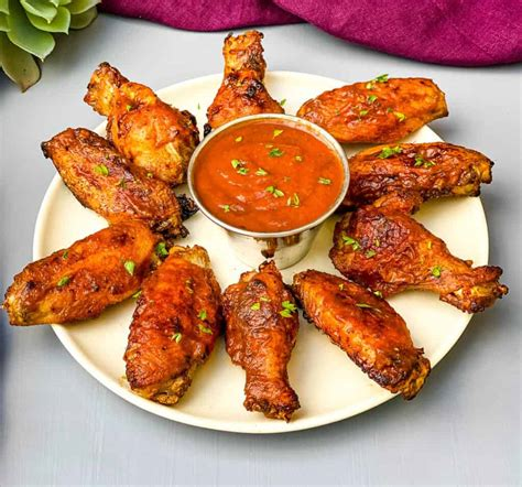 chicken bbq fryer air using wings barbecue easy drizzled grilled rub taste frozen sauce fresh perfect these