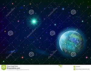 Space Background With Planet And Sun Royalty Free Stock ...