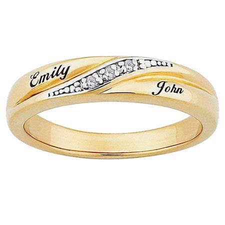 personalized s accent 10kt gold engraved name wedding ring walmart