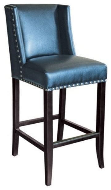 wing back bar stool in blue leather with silver nailhead