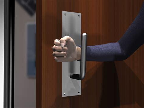 avoid germs on restroom door pull handlesopen a public