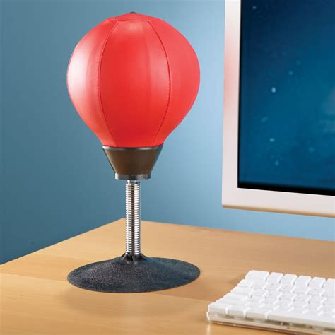 punching bureau the desktop punching bag hammacher schlemmer