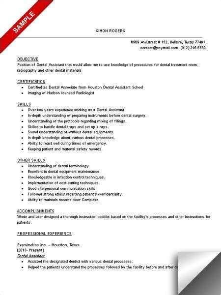 dental assistant resume sample dentist resume medical
