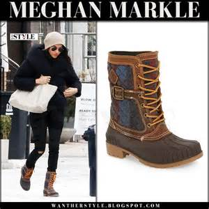 Adriana Lima Red Carpet by Meghan Markle In Brown Winter Kamik Boots With Canvas