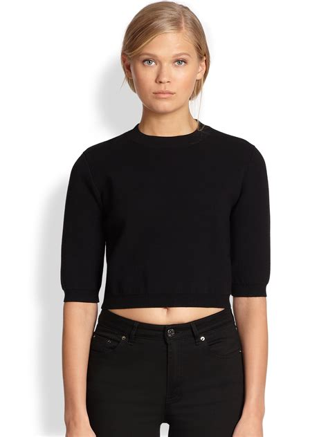 cropped black sweater acne studios cropped sweater in black lyst