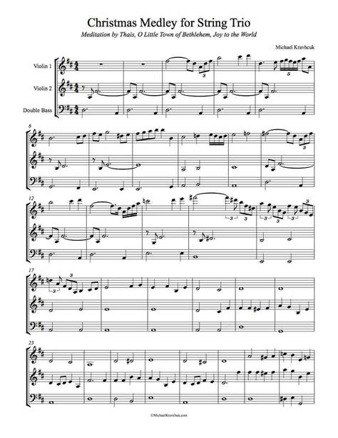 Lyrics and chords included, with mp3 music accompaniment tracks. Free Christmas Medley Sheet Music for Two Violins and Double Bass - Michael Kravchuk