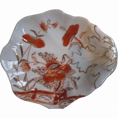 Hand Gold Porcelain Painted Orange Bowl Leaf