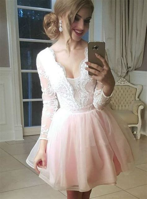 Tulle Plunge Neck Lace Appliques Long Sleeves Homecoming ...