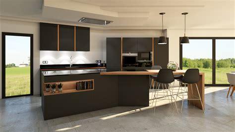 cuisiniste barentin cuisine gris anthracite bois et cuivre avec îlot design
