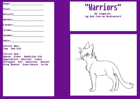 Oc Template Oc Template Warrior Cats Books By Erin By Hoi Tem