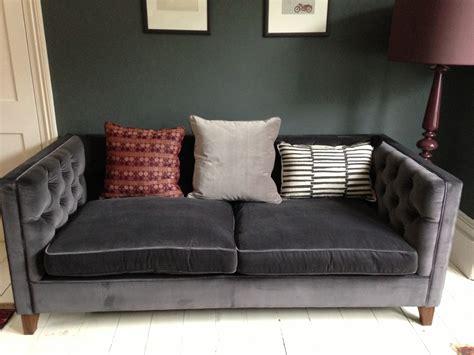 gray tufted grey velvet sofa