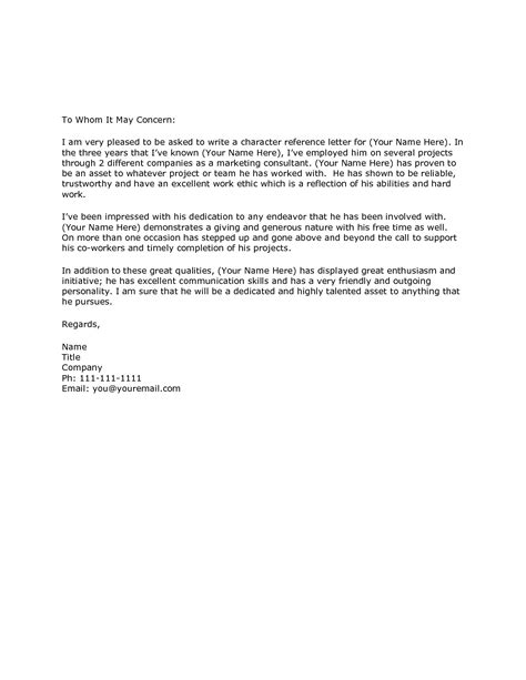character letter template character reference letter sles template resume builder