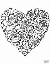 Coloring Rose Heart Pages Printable Hearts Adult Adults Super Supercoloring Diamond Drawing Paper Many sketch template