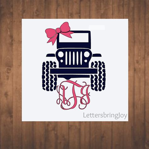 jeep decal with bow jeep decal with monogram and bow decal