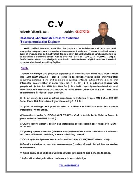 Wireless Telecom Engineer Resume by Telecom Engineer Cv 1
