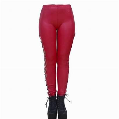 Leggings Thin Leather Pants Skinny Bandage Cross