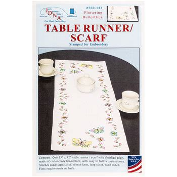 fluttering butterflies table runner stamped embroidery kit