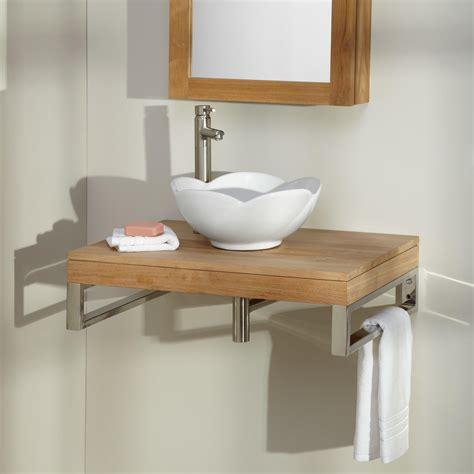 bathroom wall vanity cabinets 30 quot pomoma teak wall mount vessel sink vanity bathroom