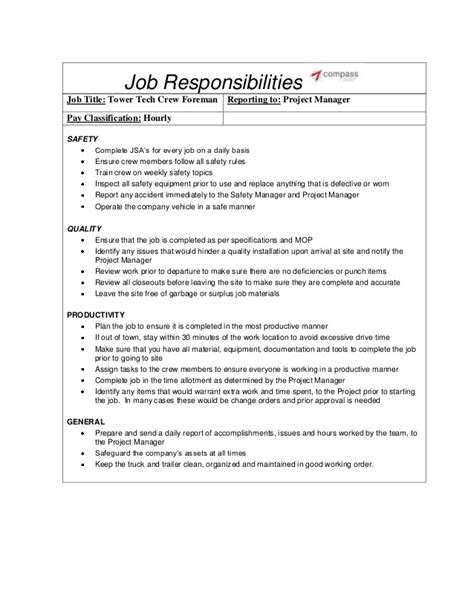 Tower Climber Resume Exle opportunities telecommunications tower climber with compass fie