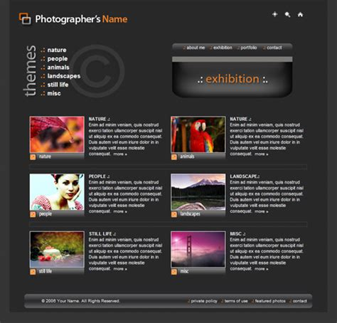 web templates photography template photography website