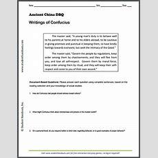 Writings Of Confucius Dbq Worksheet  Students Handouts