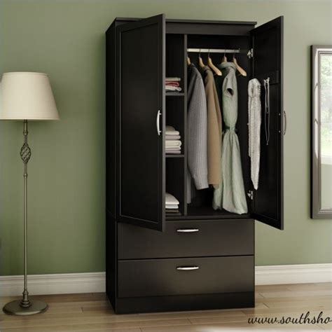 Black Wardrobe by South Shore Acapella Wardrobe Armoire In Black 5370038