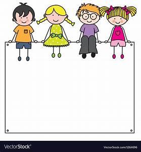 Cute cartoon kids frame Royalty Free Vector Image