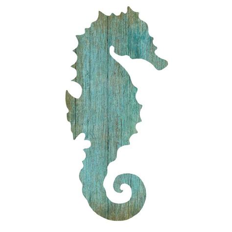 wooden signs with sayings seahorse silhouette facing right wall aqua