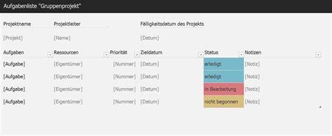 aufgabenliste gruppenprojekt excel tabelle