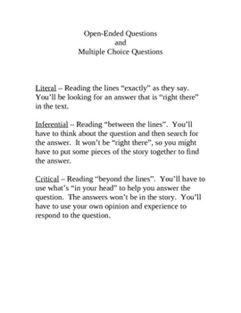 Reading Comprehension Question Types  Literal, Inferential, Critical